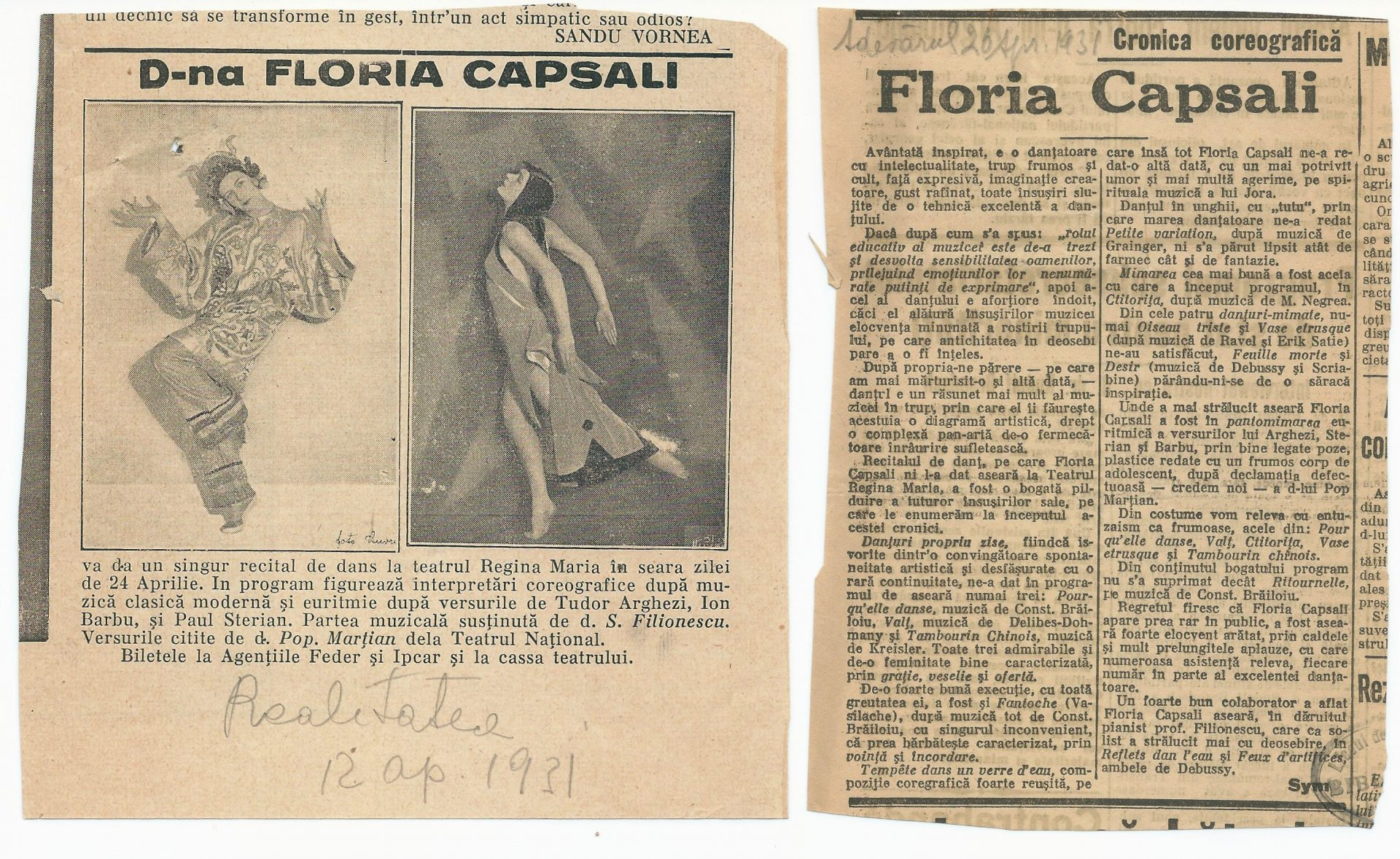 Arhiva Istorică_Fond Floria Capsali_Colecția de presă