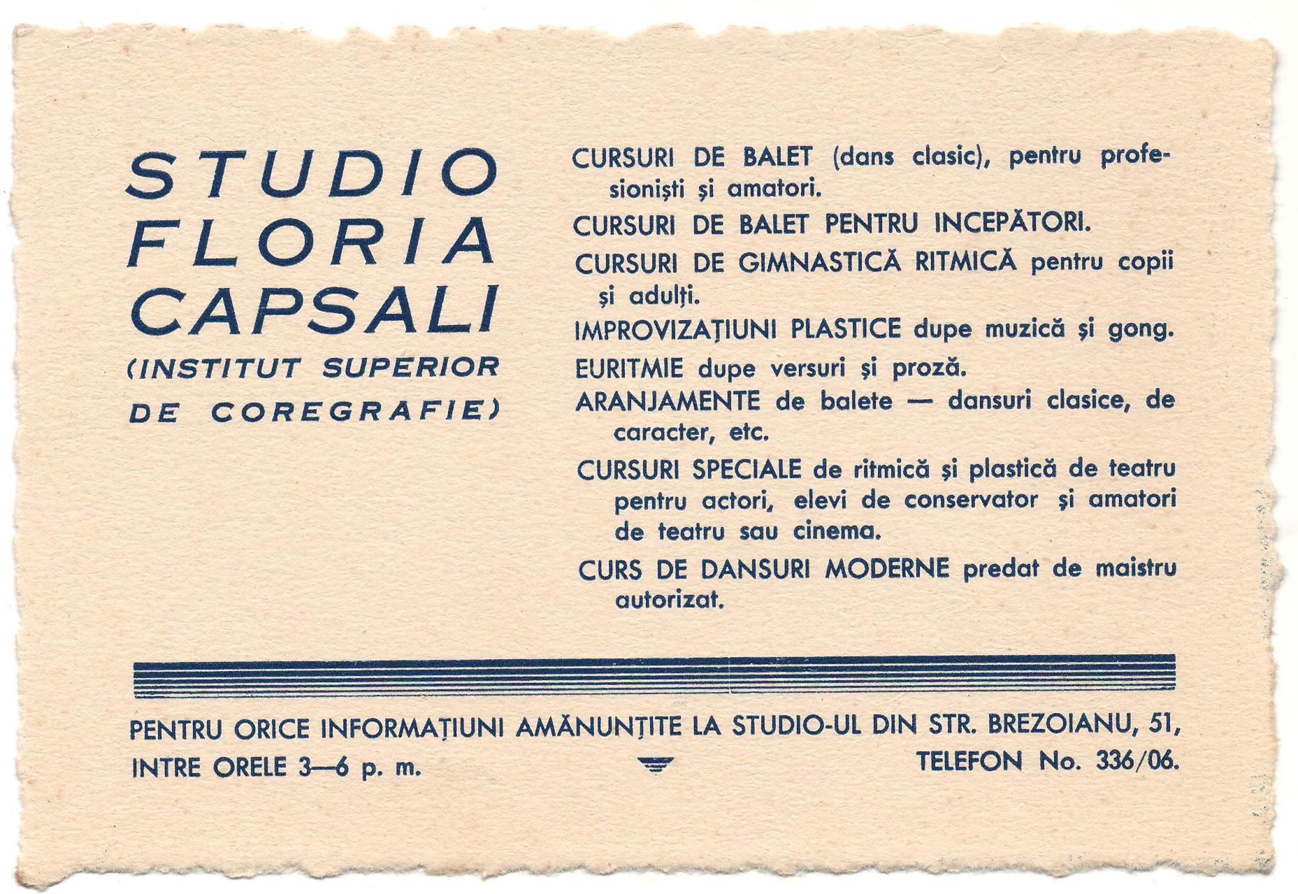 ©Arhiva CNDB (anunț Studio Floria Capsali, strada Ion Brezoianu 51)